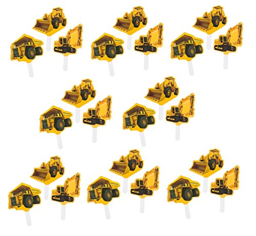 Construction Zone Party Pick Cupcake Decorations (24