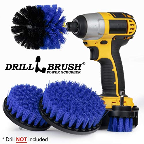 Drillbrush Swimming Pool Accessories – Drill Brush Power Scrubber Kit – Pool Brush for Vinyl Liners – Hot Tubs and Spas Jacuzzi – Pool Cover Brush Heads – Hot Tub Power Scrub Brushes – Walls and Deck