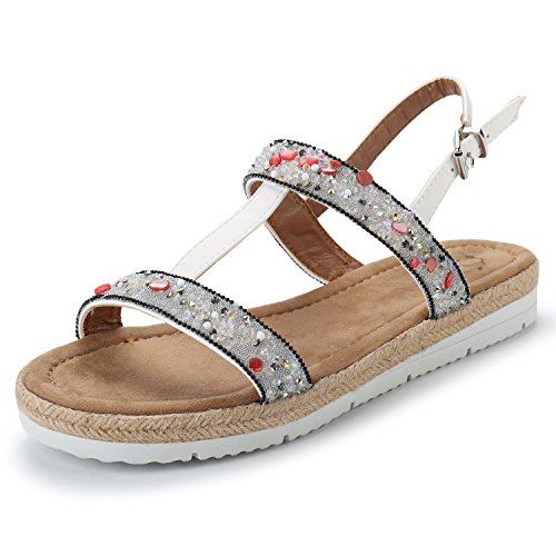 Alexis Leroy Women's Rhinestone Decorated T-Strap Flat Beaded Sandals White WMIyvaqagj