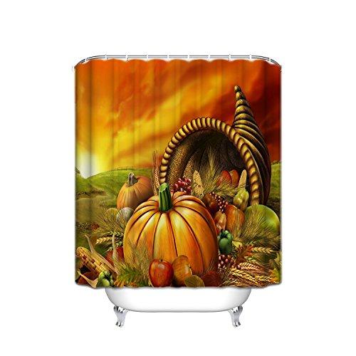 - JANNINSE Crystal Emotion Thanksgiving Theme Home Decor Shower Curtain, Animated Pumpkin Fruit Thanksgiving Ideas, Bathroom Accessories, Yellow Green, 72x84 Inch