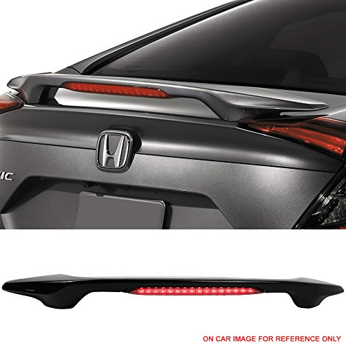 Pre-painted Trunk Spoiler Fits 2016-2018 Honda Civic | Factory Style ABS Crystal Black Pearl #NH731P With LED Brake Light Boot Lip Rear Spoiler Wing Other Color Available By IKON MOTORSPORTS | 2017