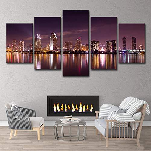 Wulian Painting San Diego California Skyline Purple Sky Art Deco (Best Choice Painting San Diego)