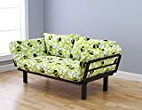"Futon Sofa Lounger Couch and Daybed or Twin Bed Size with 6"" Mattress. Bright Green Circle Cover Is Perfect for Smaller Bedroom, Studio Apartment, Guest Room, Covered Outdoor Porch or Patio. This Is the Best Piece of Furniture Anywhere in Your Home or O"