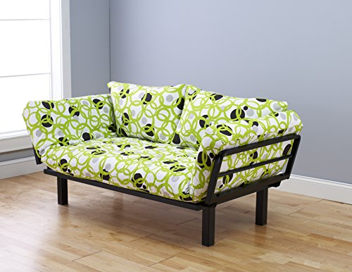"""Futon Sofa Lounger Couch and Daybed or Twin Bed Size with 6"""" Mattress. Bright Green Circle Cover Is Perfect for Smaller Bedroom, Studio Apartment, Guest Room, Covered Outdoor Porch or Patio. This Is the Best Piece of Furniture Anywhere in Your Home or Office"""