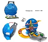 Foldable toy car parking play set with 1 car and helicopter Wheel garage 3 stories racing round