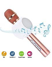 HURRISE Micrófono Inalámbrico Portátil Micrófono y Altavoz del Karaoke de Bluetooth, Micrófono del Karaoke del PDA para el Hogar KTV, Conectando con iOS, Sistema Android y Tabletas(oro rosa)