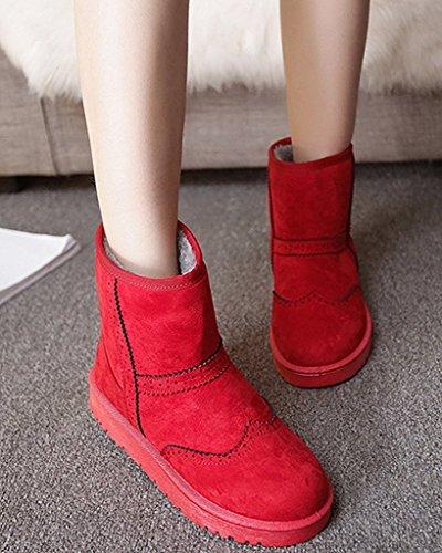 De D'hiver Minetom Chaussures Femmes Bottines Chaudes Bottes Rouge Coton glisse Neige Plates Brogue Anti qSEB6wpxE