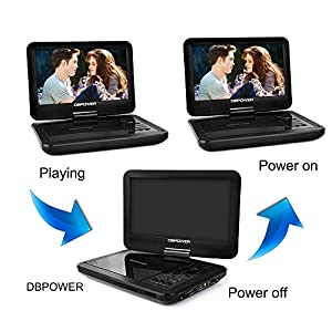 """DBPOWER 10.5"""" Portable DVD Player with Rechargeable Battery, Swivel Screen, SD Card Slot and USB Port - Black"""