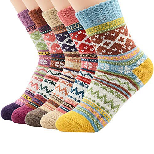 eba2cd1c3f094 Zando Women's Vintage Warm Wool Sock Knitted Soft Crew Socks Causal Comfort  Thick Cabin Sock Sport Cozy Ankle Sock 5 Pairs Colorful Diamond One Size