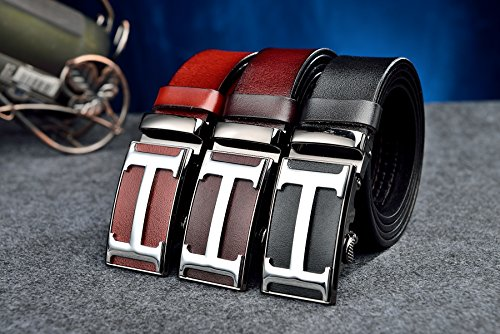 Mens Geninue Leather Belt Adjustable Waistband with Automatic Buckle 35MM