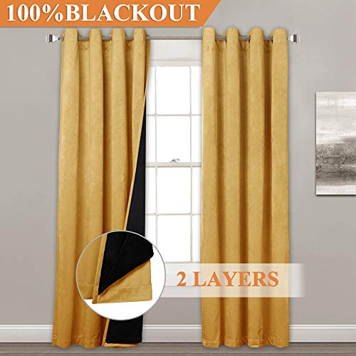 StangH Extra Long Velvet Blackout Curtains - Premium Soft Velvet with 100% Light Blocking Liner Thermal Insulated Double Layers Panel Drapes for Patio Door, Warm Yellow, 52
