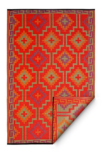 Fab Habitat Reversible, Indoor/Outdoor Weather Resistant Floor Mat/Rug Lhasa-Orange & Violet (8' x 10') (Recycled Plastic Rugs)