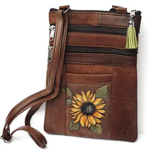Hand Painted Sunflower Soft Brown Leather Boho Shoulder Bag Crossbody Handbag with Green Suede Tassel