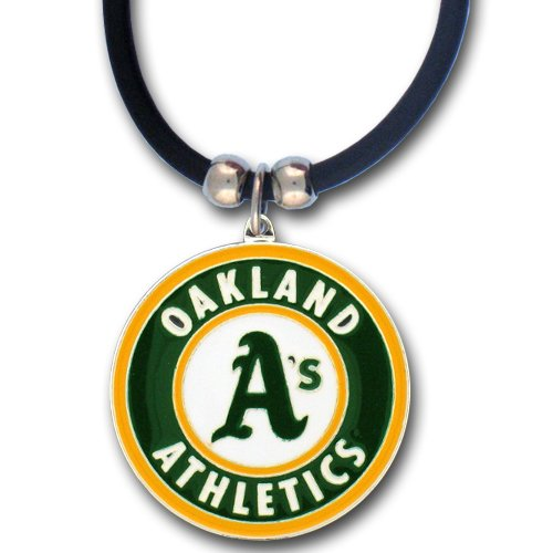 MLB Oakland Athletics Rubber Cord Necklace (Necklace Sports Rubber)