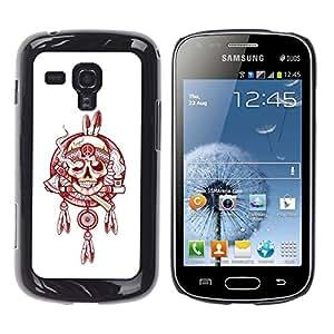 GOODTHINGS Funda Imagen Diseño Carcasa Tapa Trasera Negro Cover Skin Case para Samsung Galaxy S Duos S7562 - Blanco jefe indio humo paz rojo