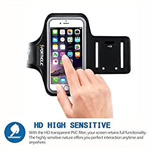 "Sportholic 518100 iPhone 6/6S Armband Water Resistant Sports Running Armband with Key Holder, Cable Locker, Cards Holder for iPhone 6/6S, Galaxy S6/S5/S4, iPhone 5/5C/5S up to 5.1"" - Black"
