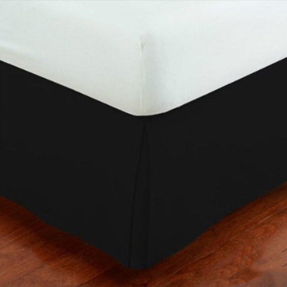 Mk Collection 100% Finest Quality Long Staple Brushed Microfiber Comfortable Pleated Bed-skirt Solid New (Queen, Black)
