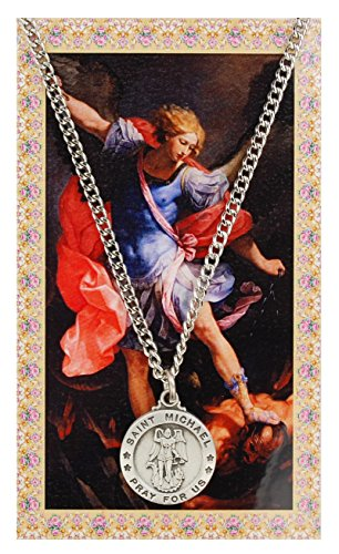 Saint Michael 3/4-inch Pewter Medal Pendant with Holy Prayer Card