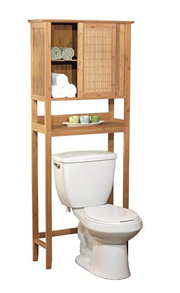 amazon com natural bamboo space saver bathroom storage space rh amazon com bathroom shelving over toilet ideas bathroom shelf over toilet space saver