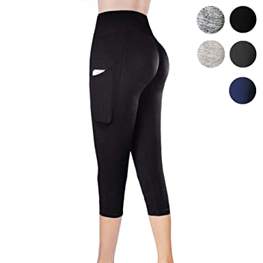 b92c7d7e1dd1c CableMax Mesh Yoga Leggings Pockets High Waisted Pants for Women ,Yogapocketcapris-Black,Small