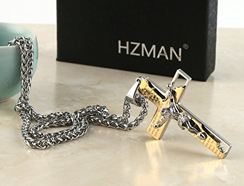 HZMAN Men's Stainless Steel Cross Crucifix Bible Prayer Pendant Necklace 24'' Chain Gold by HZMAN (Image #4)