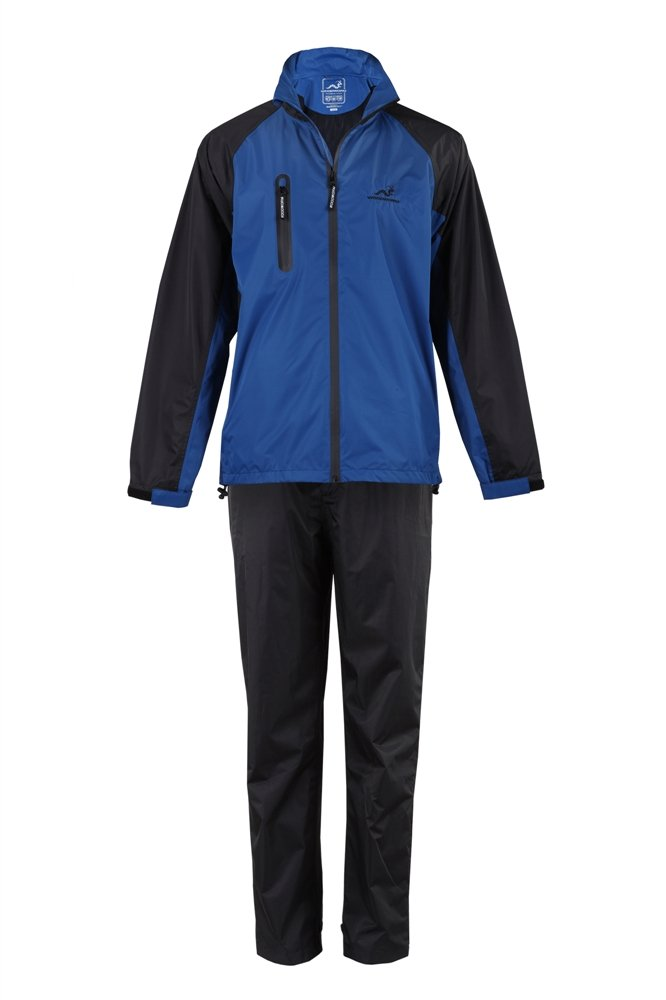 Woodworm Golf V2 Mens Waterproof Jacket and Pants Golf Rainsuit Blue Small