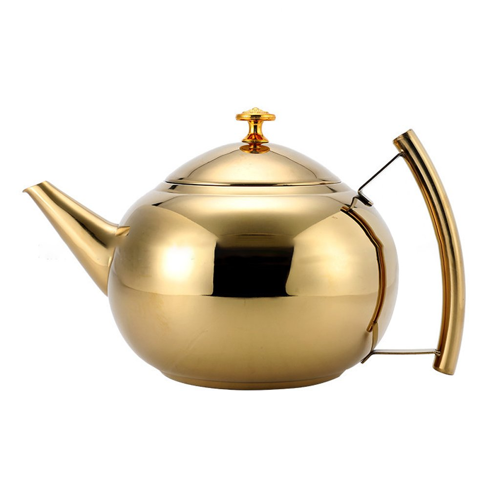 Gudelaa 1L/1.5L/8L Polished Stainless Steel Teapot Tea Pot Coffee with Tea Leaf Filter Infuser Tea Strainer Infuser Mirror Finish Gold 10.314.5cm