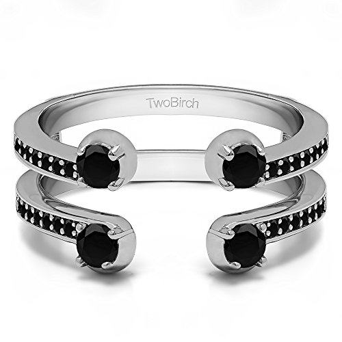 Sterling Silver Two Stone Wedding Ring Guard with Black Diamonds (0.36 ct.) ()