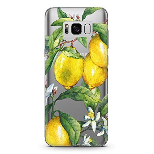 Wonder Wild Silicone Samsung Galaxy S8 S9 Plus 7 Edge Note 8 A3 A5 A7 A8 Clear Case 2017 2018 Phone Cover Cute Watercolor Lemon Fruit Print Nature Design Tropical Plant Floral Flowers Lemonade Summer