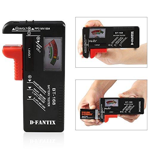 DFantiX Battery Tester Universal Battery Checker for AA AAA C D 9V 15V Button Cell Batteries Model BT168