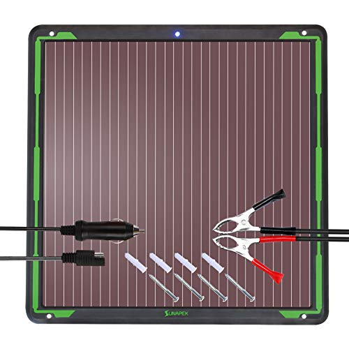 SUNAPEX 7.5W 12V Solar trickle Charger,Battery Charger,Battery maintainer Portable Power Solar Panel Suitable for Car, Motorcycle, Boat, ATV,Marine, RV, Trailer, Snowmobile, etc. (Best Solar Battery Maintainer)