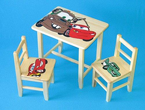 Set in legno tavolino con 2 sedie per cameretta bambini. M6. Ottima idea regalo.Completo in pino con disegno a mano. ipp