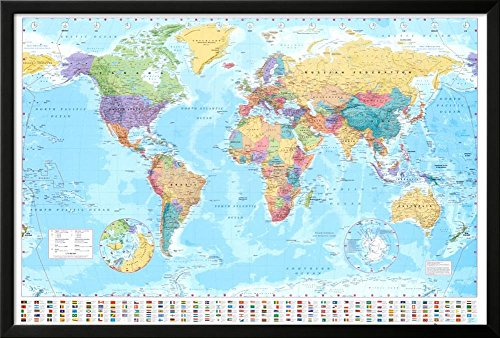 World Map Lamina Framed Poster 38 x ()