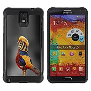 LASTONE PHONE CASE / Suave Silicona Caso Carcasa de Caucho Funda para Samsung Note 3 / grey blurry nature tropical bird yellow