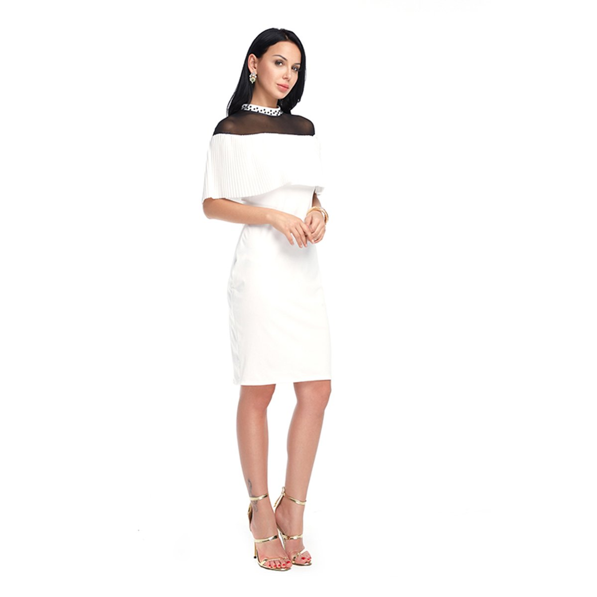 68a483c2b2e4 FLORHO Women's Lace Patchwork Half Sleeve Bodycon Solid Sexy Midi Dresses  at Amazon Women's Clothing store: