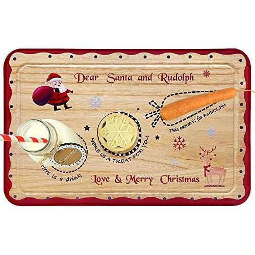 ORIENTAL CHERRY Santa Cookie Plate - Christmas Decorations for Kids - Xmas Eve Santa Treat Board Wooden Tray Plate Platter Mat