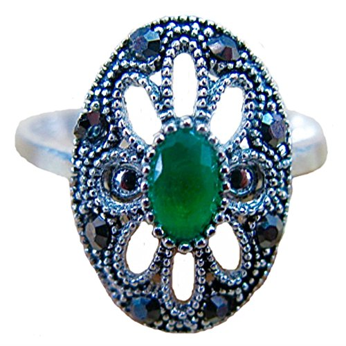 (FaithOwl Marcasite Simulated Emerald Filigree 925 Sterling Silver Ring (8.5))