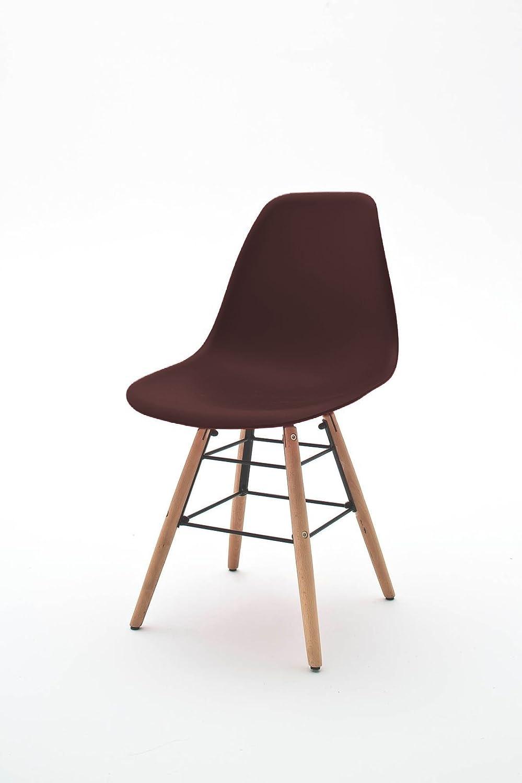 ARBD 4er Set Esszimmerstuhl Copilot Stuhl Konferenzstuhl Holzgestell mit Metall, Sitzschale Kunststoff (braun)