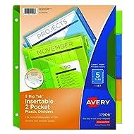 Avery Big Tab Insertable Two-Pocket Plastic Dividers, 5-Tab Set, Multicolor (11906)