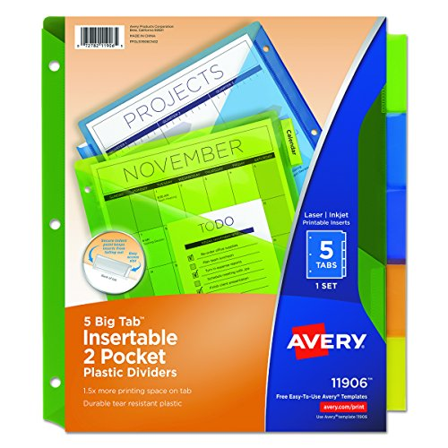 Back Tab Insert (Avery 11906 Insertable Big Tab Plastic Dividers w/Double Pockets, 5-Tab, 11 x 9)