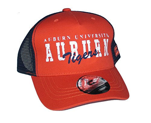 - University of Auburn Tigers Snapback Adjustable One Size FIts All NCAA Authentic Snap Mesh Back Trucker Style Hat Cap - OSFA Distressed Print Orange & Navy Blue