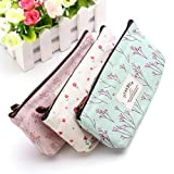 Countryside Flower Floral Pencil Pen Case Cosmetic Makeup Bag