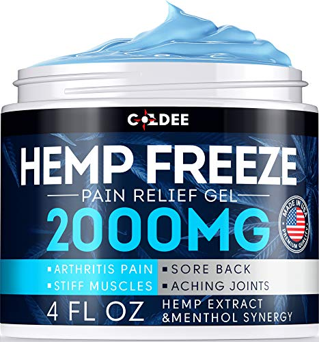 Coldee Pain Relief Hemp Oil Gel - 2000 MG, 4 OZ - Max Strength & Efficiency - Natural Hemp Extract for Arthritis, Knee, Joint & Back Pain - Made in USA - Hemp Cream for Inflammation & Sore Muscles