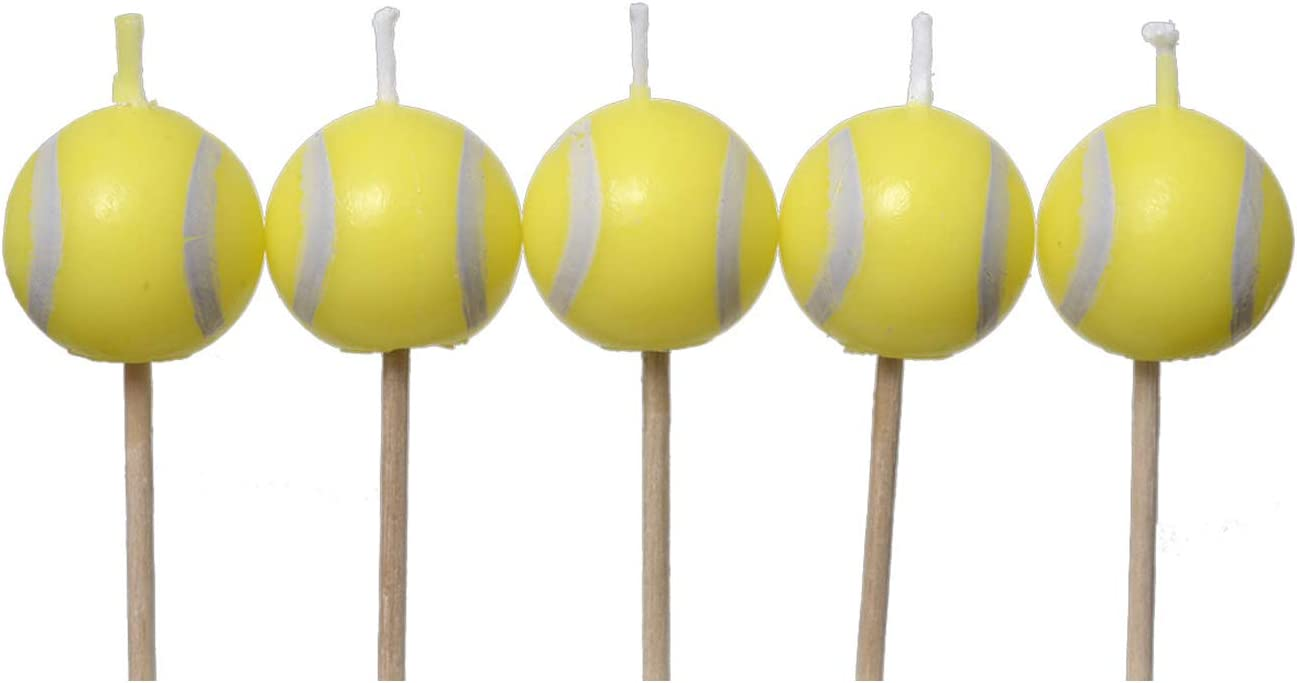 Tennis Ball Birthday Candles (5-pack, Spherical Tennis Ball Birthday Candles on Picks) Tennis Party Collection by Havercamp