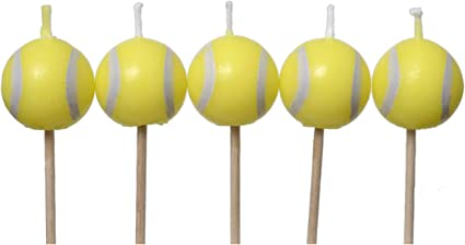 Tennis Birthday Candles 5 pack, spherical balls on picks Tennis Party Collection by Havercamp