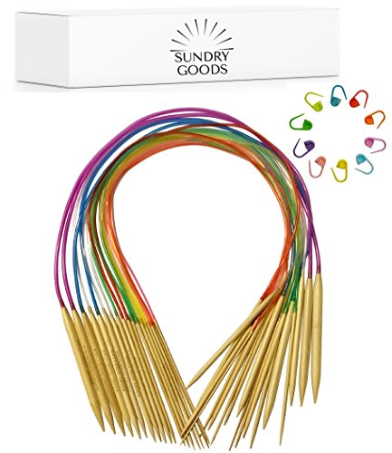 Circular Knitting Needles Set by SundryGoods - Bamboo Wood - Flexible - 18 Sizes: 2 mm - 10 mm (comparable to US sizes 0-15 inch), 80 cm Length (32 inch US