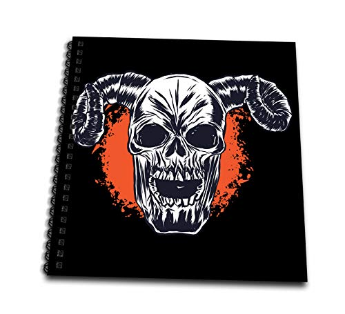 3dRose Sven Herkenrath Fantasy - Skull Skeleton Head with Horns for Halloween - Drawing Book 8 x 8 inch (db_316106_1)