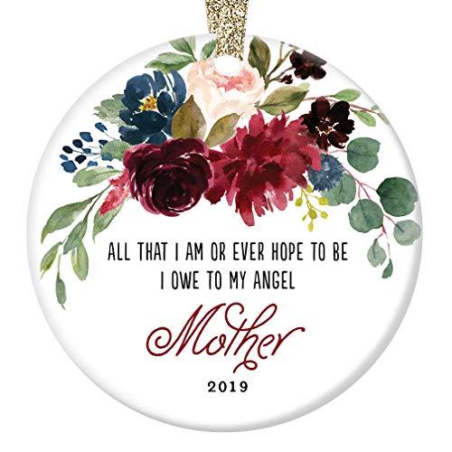 2019 Memorial Ornament Christmas Gift Remembering Mother Porcelain Holiday Season Tree Decoration Memorializing Mom Madre Angel Beautiful Keepsake Present 3