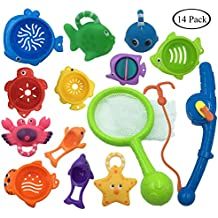 MOLICUI 14 Pack Bath Toy, Fishing Floating Squirts Toy Water Scoop Stacking Cups, Fish Net Game in Bathtub Bathroom Pool Bath Time Kids Toddler Baby Boys Girls, Bath Tub Spoon