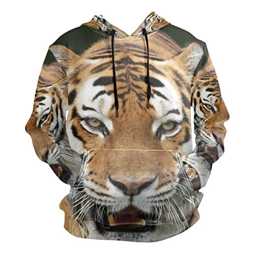 Siberian Tiger Sweatshirt - Men's Hoodies Sweatshirt Siberian Tiger in Dark Forest Long Sleeve Pullovers